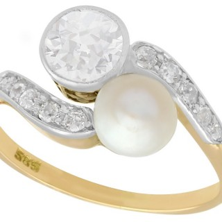 0.88 ct Diamond and Natural Saltwater Pearl, 14 ct Yellow Gold Twist Ring - Antique Circa 1900