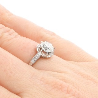 1.22 ct Diamond and Platinum Solitaire Ring - Antique French Circa 1920
