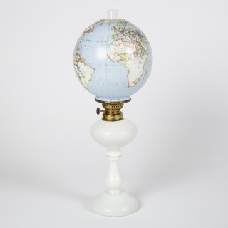 OIL LAMP WITH TERRESTRIAL GLOBE SHADE, circa 1885