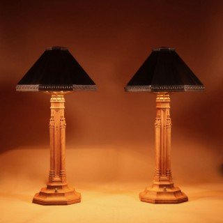 An Exceptional Pair of Arts & Craft Oak and Copper Table Lamps.