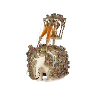Miniature carved ivory and jewel encrusted elephant from Rajasthan
