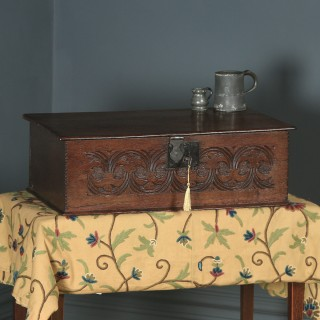Antique English 17th Century Charles II Solid Oak Bible / Writing Box / Trunk / Chest (Circa 1680)