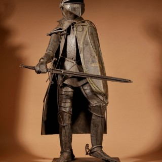 A Large Model Of A Artistic Made Tin Plate Iron Knight Armour.