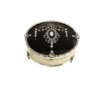 Antique Sterling Silver & Tortoiseshell Trinket Box 1912