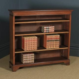 Antique English Edwardian Georgian Style Mahogany & Satinwood Inlaid Open 4ft Bookcase Shelf (Circa 1910)