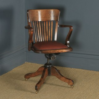 Antique English Edwardian Solid Beech & Burgundy Red Leather Revolving Office Desk Arm Chair (Circa 1910)
