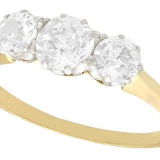1.14ct Diamond and 18ct Yellow Gold Trilogy Ring - Antique Circa 1930