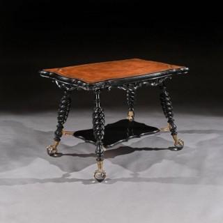 Merklen Bros 19th Century Ebonised Leather Table