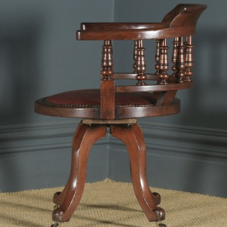 Antique English Victorian Mahogany & Burgundy Red Leather Revolving Swivel Office Desk Arm Chair (Circa 1890)