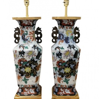 PAIR OF 19TH CENTURY MASONS IRONSTONE TABLE LAMPS
