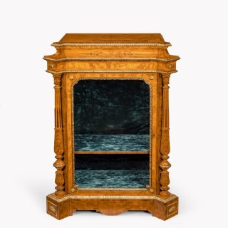 A pair of Victorian satinwood display cabinets attributed to Holland and Sons