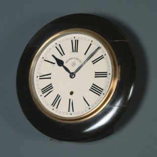 Antique 14½″ Mahogany Ansonia Railway Station / School Round Dial Wall Clock (Timepiece)