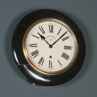 Antique 14½″ Mahogany Ansonia Railway Station / School Round Dial Wall Clock (Timepiece)