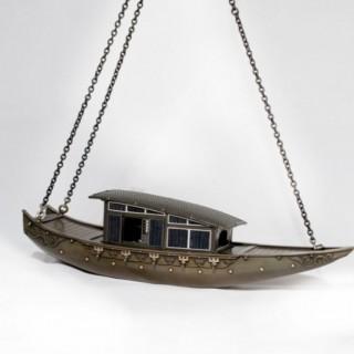 Japanese Shibuichi & Silver Hanging Boat Koro - Incense Burner