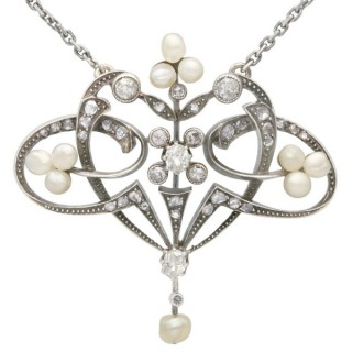 Natural Pearl and 0.94 ct Diamond, 9 ct Yellow Gold Pendant - Antique Victorian