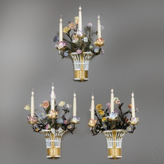 Set of Three Sèvres-Style Four Light Porcelain Wall Appliques