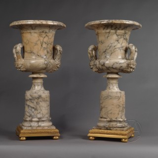 A Fine Pair of Neoclassical Style Carved Alabaster Vases
