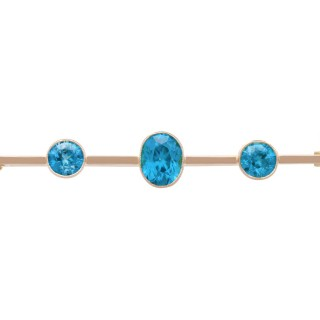5.46 ct High Zircon and 9 ct Yellow Gold Bar Brooch - Antique Circa 1900