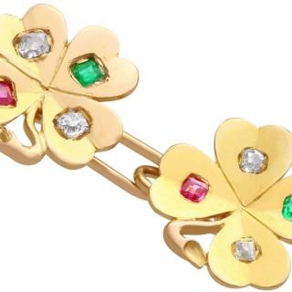 0.24 ct Diamond, 0.15 ct Ruby and Emerald, 18 ct Yellow Gold Clover Cufflinks - Antique Circa 1910