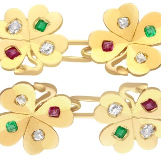 0.24 ct Diamond, 0.15 ct Ruby and Emerald, 18 ct Yellow Gold Clover Cufflinks - Antique Circa 1910