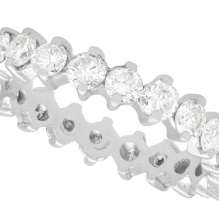 1.54ct Diamond and 18ct White Gold Full Eternity Ring - Vintage Circa 1980