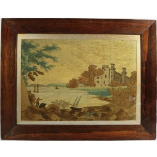 Georgian Woolwork Embroidered Picture - Castle by a Lake