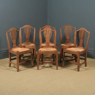 Antique Set of Six English Georgian Hepplewhite Camel Backed Walnut Provincial Kitchen Dining Chairs (Circa 1850)