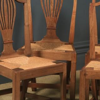Antique Set of Six English Georgian Hepplewhite Camel Backed Walnut Provincial Kitchen Dining Chairs (Circa 1850)