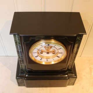 Mid 19th Century Polished Slate Visible Escapement Mantel Clock