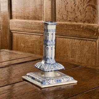 English Delftware candlestick