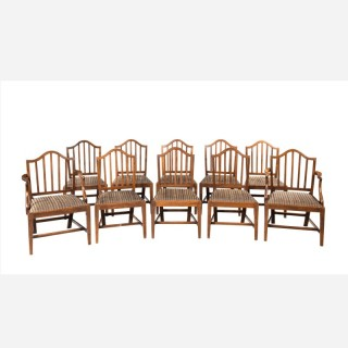 Set of Ten George III Period Mahogany Chairs