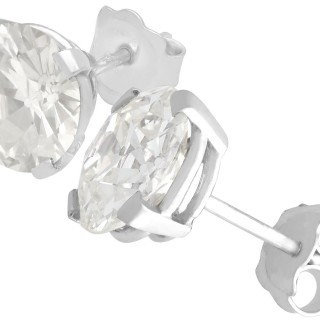 6.69ct Diamond and Platinum Stud Earrings - Antique and Contemporary