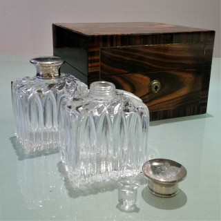 Victorian set of silver capped cologne bottles 1855