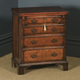 Antique English Small Georgian Style Edwardian Burr Walnut Bachelors Chest of Drawers & Writing Table Desk (Circa 1910)