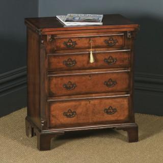 Antique English Small Georgian Style Edwardian Burr Walnut Bachelors Chest of Drawers & Writing Table Desk (Circa 1910)