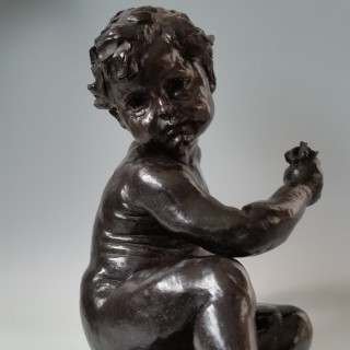 Aime Jules Dalou (1838-1902) Seated child Bronze