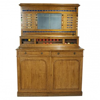 Victorian Oak Billiard, Snooker, Life-pool Scoreboard With Cabinet.