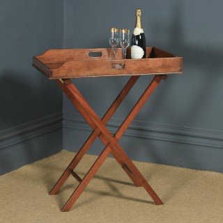 Antique English Victorian 19th Century Mahogany Butlers Drinks Tray Table & Stand (Circa 1860)