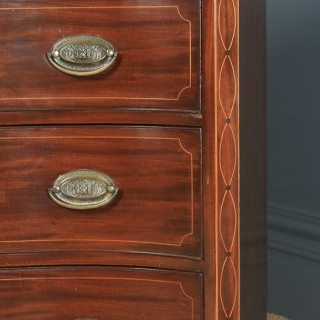 Antique English Georgian Regency Mahogany Inlaid Serpentine Chest of Drawers (Circa 1810)
