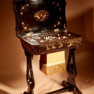 A Originally Lacquered Sewing/Work Table Still With The Original Gold Paint Work, Chinese, 19th. century,