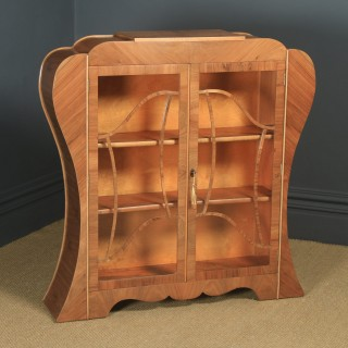 Antique English Art Deco Figured Walnut Shaped Glass China / Book Display Cabinet (Circa 1930)