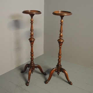 Pair of Victorian Mahogany Torcheres