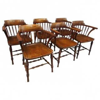 Set of 6 Red Walnut Captain's Chairs by W. Walker & Son