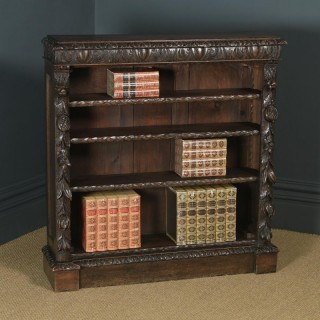 Antique English Victorian Carved Green Man Open 3½ft Bookcase Shelf (Circa 1870)