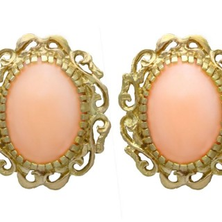 5.75ct Pink Coral and 18ct Yellow Gold Stud Earrings - Vintage Circa 1960