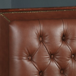 Antique English Victorian Mahogany Brown Leather Upholstered Concave Ottoman Box (Circa 1870)