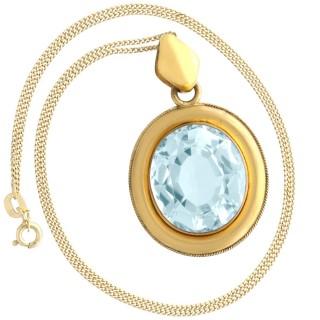 28.12 ct Aquamarine and 9 ct Yellow Gold Necklace - Antique Circa 1890