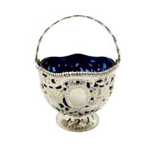 Antique Sterling Silver Basket with Scenes &  Blue Glass Liner 1901
