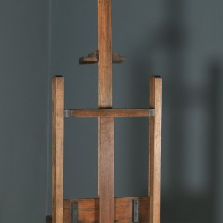 Large Antique English Edwardian Oak Artists Picture Painting Studio Easel (Circa 1910)