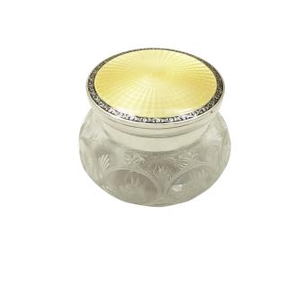 Antique Sterling Silver & Yellow Enamel Lid Vanity Jar 1928